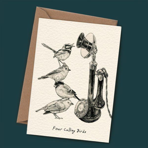 Four Calling Birds Christmas Card