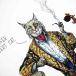 "Top half of a painting of a very smartly dressed bobcat smoking a pipe leaning on a pillar saying ""I prefer Robert cat"""