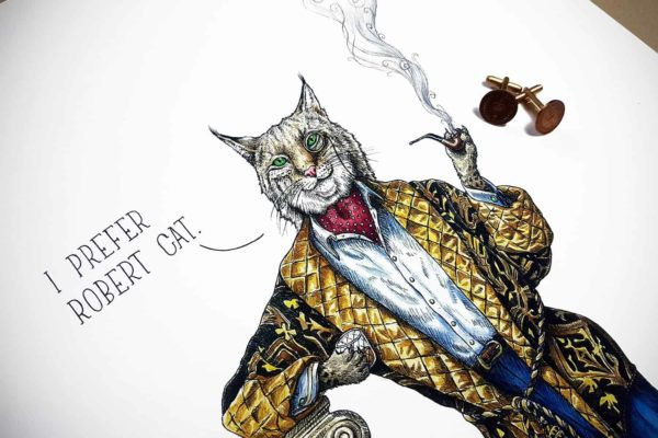"""Top half of a painting of a very smartly dressed bobcat smoking a pipe leaning on a pillar saying """"I prefer Robert cat"""""""