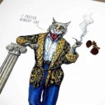 "Painting of a very smartly dressed Bobcat smoking a pipe and leaning against a pillar saying ""I prefer Robert Cat"""