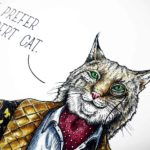 "Painting of the face of a Bobcat wearing a very smart outfit saying ""I prefer Robert Cat"" on a white background"