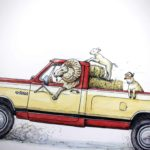 Painting of a ram in the driver's seat of a yellow and red truck with two lambs in the back on top of straw bales