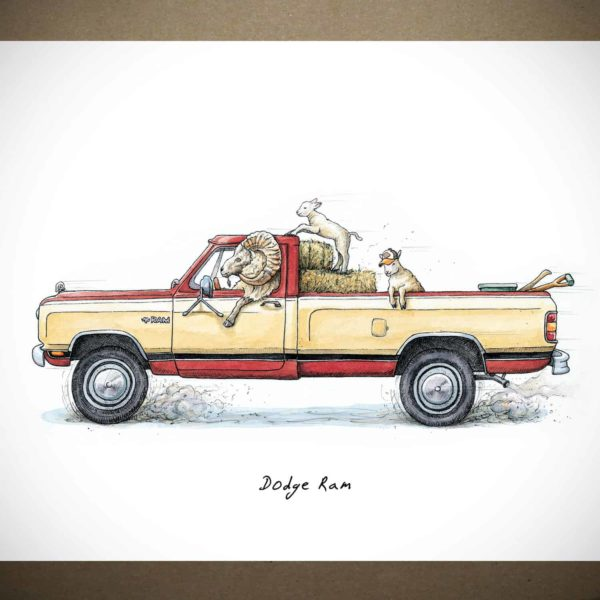 Print of a yellow and red Dodge Ram pickup truck being driven by a ram with two lambs in the back on a white background
