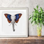 Print of an elephant with colourful butterfly wings in a white frame on a wooden shelf leaning against a wall