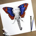 Print of a highly detailed black and white elephant face and trunk with brightly coloured butterfly wings as ears