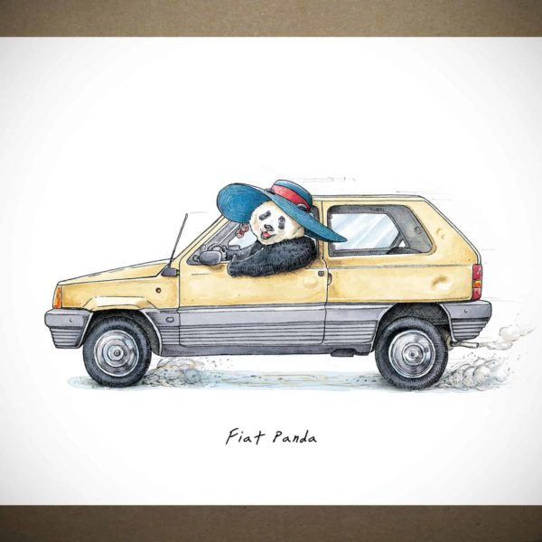 Print of an old yellow fiat panda car being driven by a panda wearing a sunhat on a white background