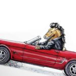 Part of a painting of a Mustang horse wearing a leather jacket driving a red ford mustang car on a white background