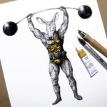 Print of an aardvark dressed as strong man wearing a leotard and lifting a barbell on a white background