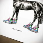 """Body, tail and legs of a horse which is wearing bright coloured trainers above text reading """"Horseshoes"""""""