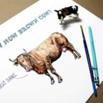 "Print of a brown cow saying 'alright thanks' below blue text reading ""How Now Brown Cow?"" on a white background"