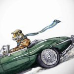 Print of a Jaguar wearing a flat cap and stripy scarf driving a green jaguar e-type on a white background