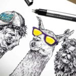Print of three black and white llamas wearing purple and yellow sunglasses, a cap and a gold chain on a white background