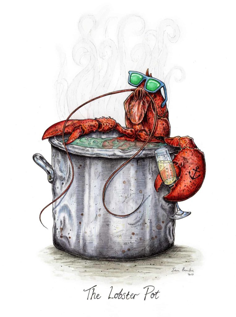 Original commissioned picture of a lobster wearing sunglasses in a hot tub holding a glass of champagne on a white background
