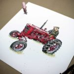 Print of a red vintage Massey Ferguson tractor being driven by a pig wearing a flat cap and a coat on a white background