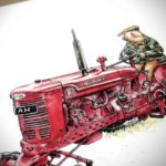 """Print of a pig wearing a flatcap and a coat driving a red tractor with """"Hammy"""" text"""" on a white background"""