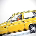 Print of a robin wearing a woolly hat driving a yellow reliant robin car on a white background