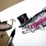 Print of a fish wearing a top hat with a monocle on a white paper background