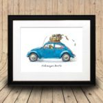 Print of a colourful beetle driving a classic blue VW Beetle car in a black frame on a curved wooden background