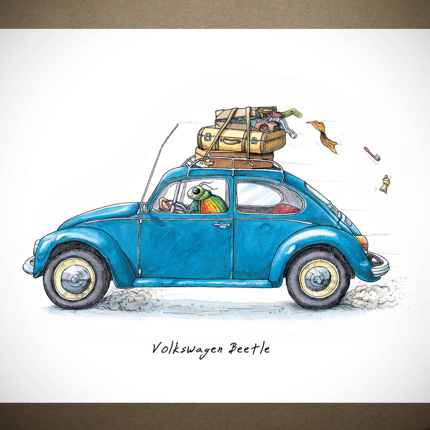 Volkswagen Beetle Print Funny Car Art Bewilderbeest