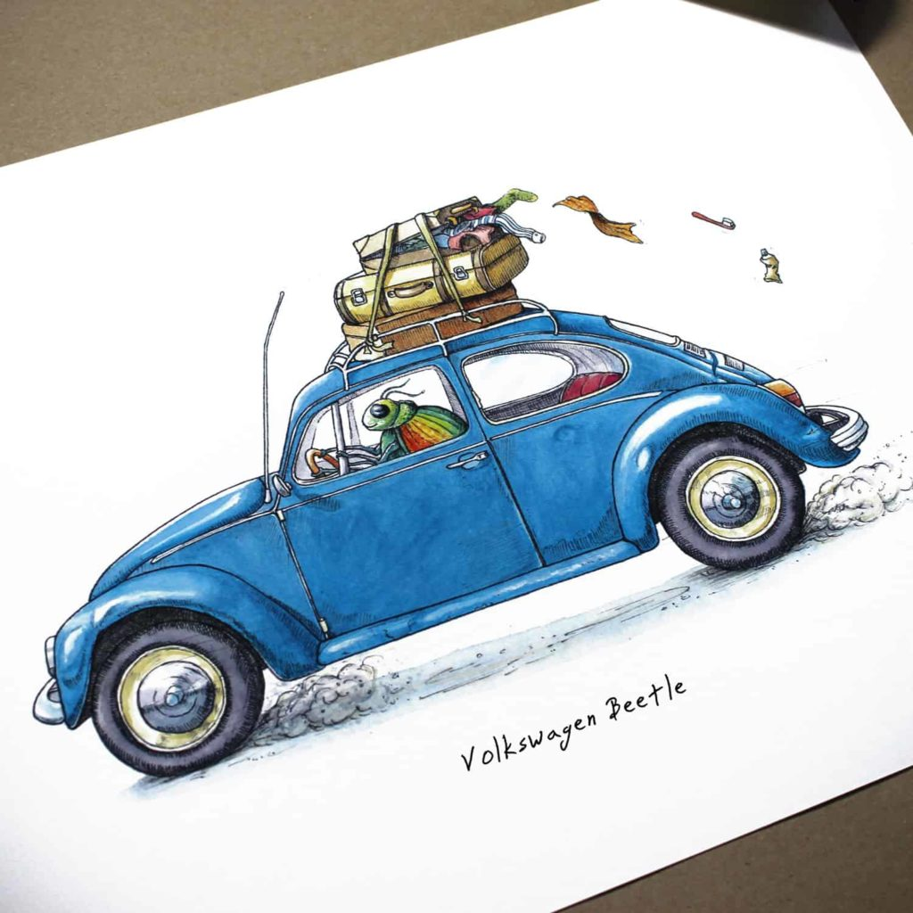 Colourful beetle driving a blue VW beetle with luggage strapped to the top which is falling off the roof rack on white paper