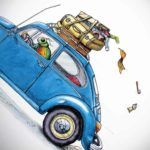 A colourful beetle driving a blue VW beetle with luggage strapped to the top which is falling off the roof rack
