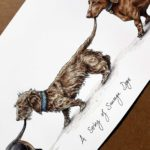 """Painting of three dachshunds holding each other's tails walking in a line above text reading """"A String of Sausage Dogs"""""""