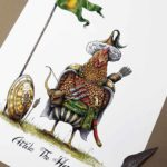 "Print of a chicken dressed in a nomadic tribal outfit with a shield and bow and arrows above text reading ""Attila The Hen"""