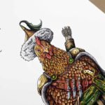 Highly detailed painting of a chicken wearing a nomadic tribal outfit with a sword, arrows and knives on a white background