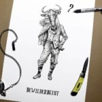 """Black and white drawing of a wildebeest wearing human clothing above text reading """"Bewilderbeest"""" on a white background"""
