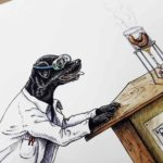 Painting of a black Labrador wearing goggles and a white lab coat staring at sausages cooking in a Bunsen burner