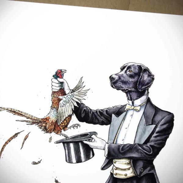 Painting of the top half of a Black Labrador wearing a suit pulling a pheasant from a hat on white paper