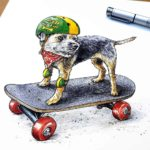 Print of a border terrier wearing a red scarf and skateboarding with a green and yellow helmet and knee pads on white paper