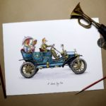 Print of a smartly dressed fox driving a blue vintage car with two chickens in the back on a white background