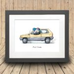 Print of an old yellow fiat panda car being driven by a panda wearing a sunhat in a grey frame on a curved wooden background