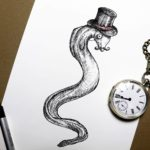 Black and white print of an eel wearing a top hat on a white background