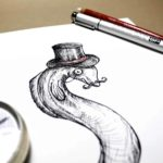 Top half of a black and white drawing of an eel wearing a top hat on a white background