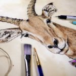 Highly detailed painting of an impala's head and the top of its neck which shows it wearing a purple decorative bow tie