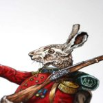 Head of a Hare wearing a red British military uniform holding a musket over its shoulder on white paper