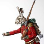Top half of a hare dressed in British military uniform holding a musket and wearing a backpack with one arm outstretched