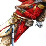Detailed painting of a British military uniform showing the red coat, sword, musket and backpack