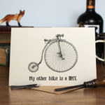 Greetings card of a black and white drawing of an original penny farthing bike