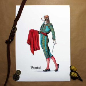 Print of an elegant liver and white Spaniel wearing a traditional Spanish matador outfit on white paper