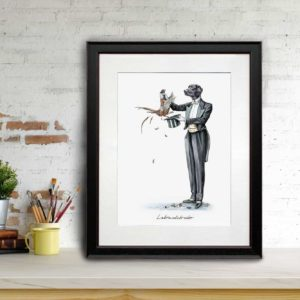 Print of a black Labrador in a magician's outfit pulling a pheasant out a hat in a black frame leaning against a brick wall