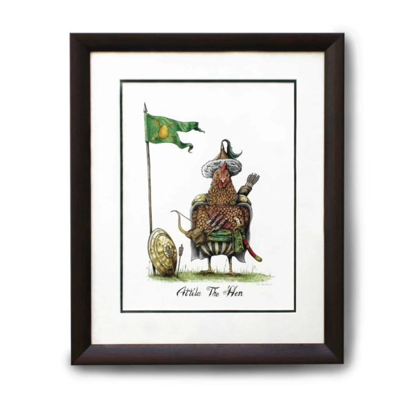 Original painting of a chicken dressed in a nomadic tribal outfit as Attila The 'Hen' in a dark wood frame on a white wall