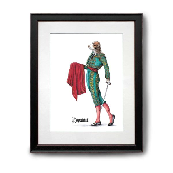 Original painting of an elegant liver and white Spaniel wearing a traditional Spanish matador outfit in a black frame