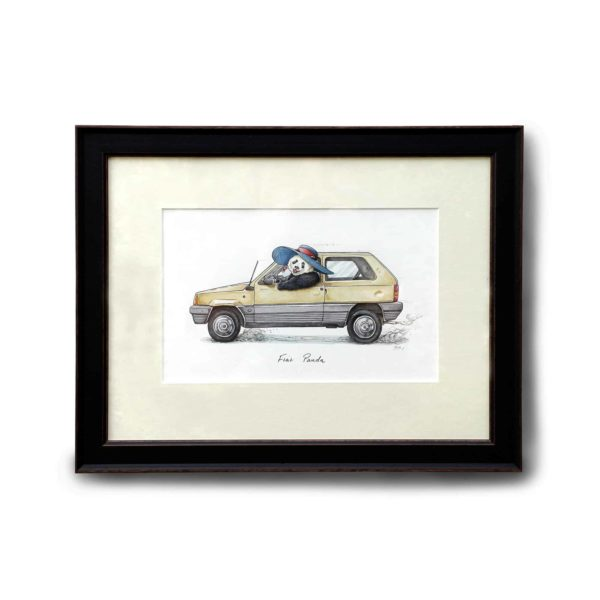 An original illustration of an old yellow fiat panda car being driven by a panda wearing a sunhat in a black frame on a wall