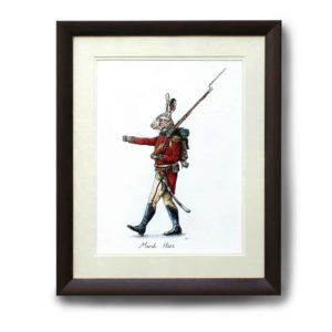 Original painting of a marching Hare dressed in British army uniform in a dark wood frame on a white wall