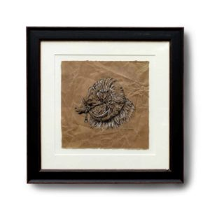 Original pen and acrylic drawing of a sheep on brown paper in a black frame on a white background