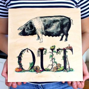 Pig Out Wood Print