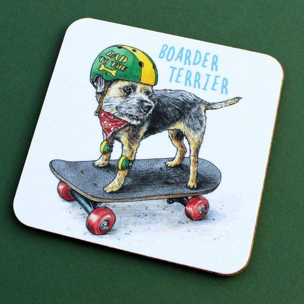 Boarder Terrier Coaster Set